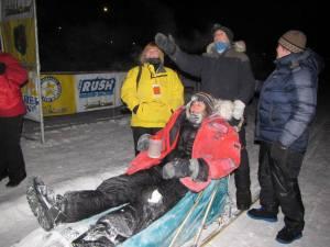 Susan Rogan and Hans Gatt, 2013 Yukon Quest finish. Photo by Helen Hegener/N