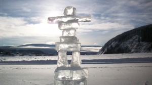Inuksuk on the Yukon River, Dawson City, 2008 Yukon Quest. Photo by Helen Hegener/Northern Light Media