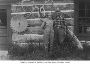 Bill and Nellie Lawing at their cabin beside Kenai Lake. Alaska Nellie