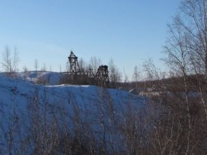 A gold dredge near the F.E. Co. Gold Camp