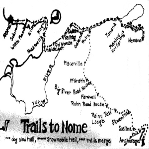 1973 map of the Iditarod Trail Sled Dog Race, from the Anchorage Daily News files