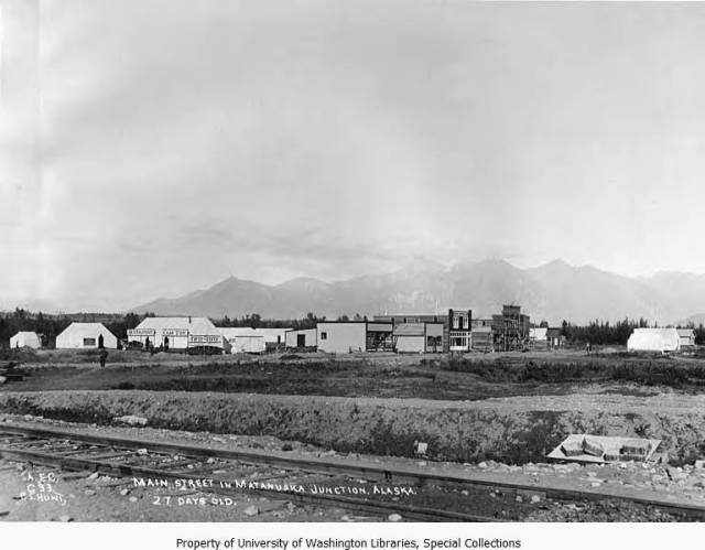 The town of Matanuska, seen from the tracks of the Alaska Railroad, August, 1916