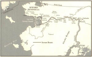 Map of the Serum Run from The Cruelest Miles, by Gay and Laney Salisbury (W.W.Norton & Co., 2003)